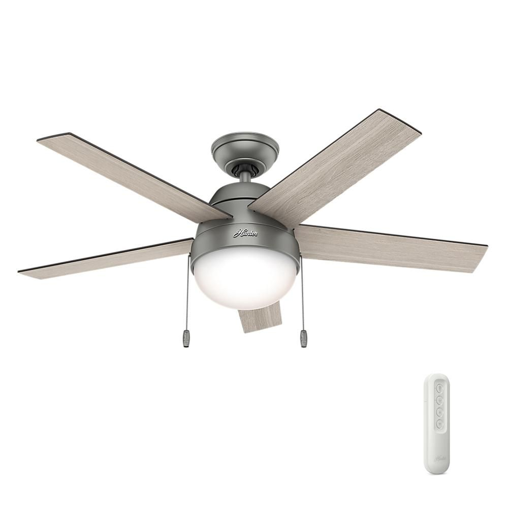 Hunter Anslee 46 In Indoor Matte Silver Ceiling Fan With Light Bundled With Universal Remote Control Silver Ceiling Fan Ceiling Fan Bronze Ceiling Fan