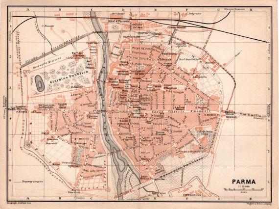 1903 Old Map of Parma EmiliaRomagna Antique Map Vintage