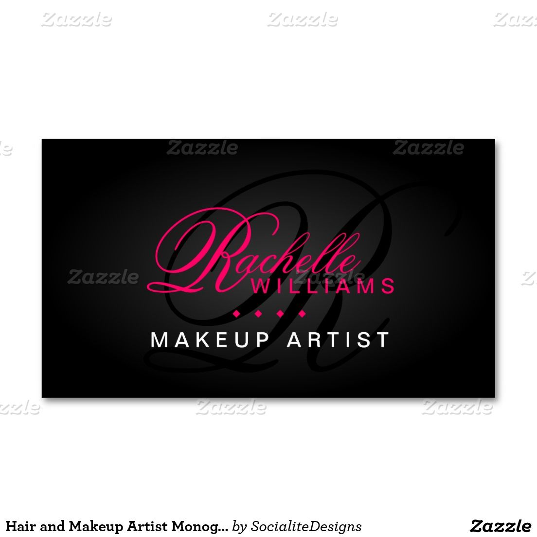 Hair and Makeup Artist Monogram Business Card | Business cards ...