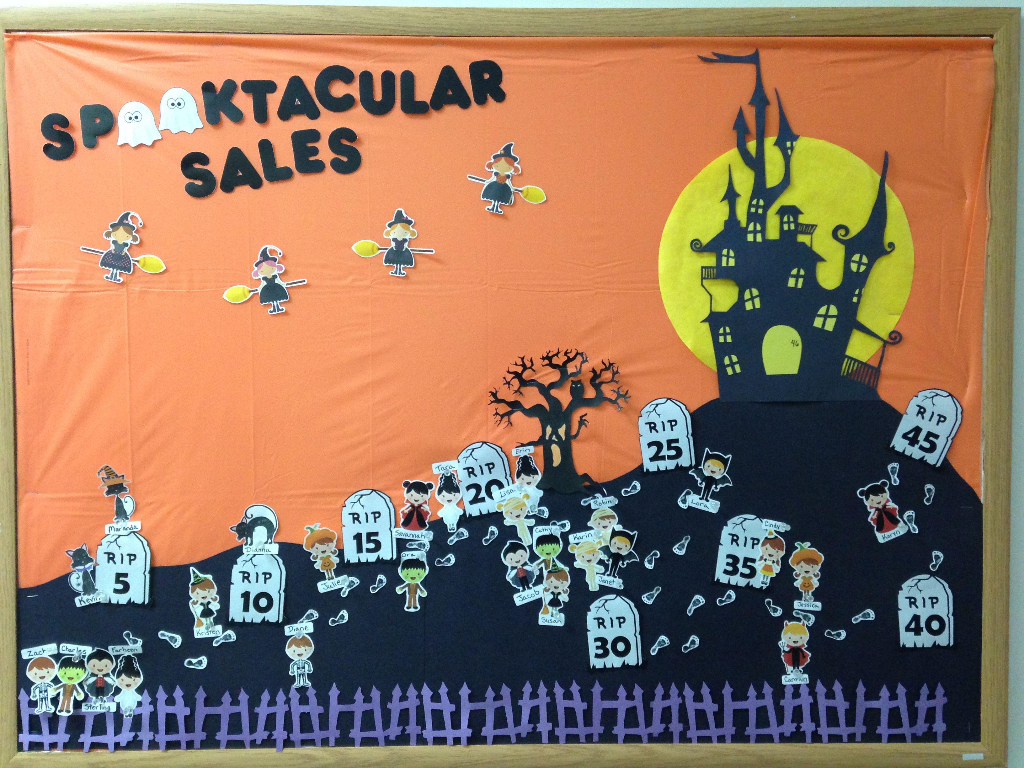Halloween October Haunted House Graveyard Sales Bulletin Board
