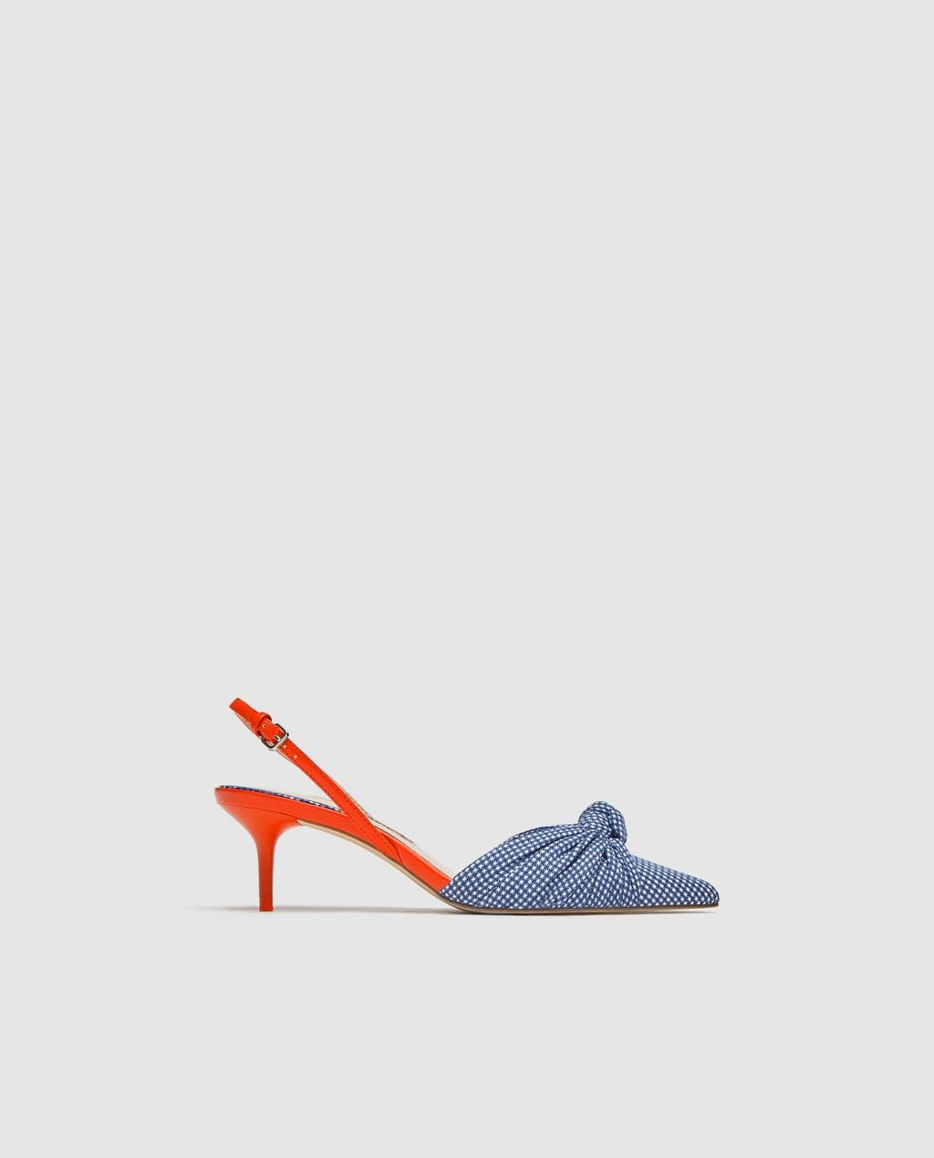 e7087cbc0d4 Image 1 of GINGHAM MID-HEEL SLINGBACK SHOES from Zara | Ayakkabılar ...