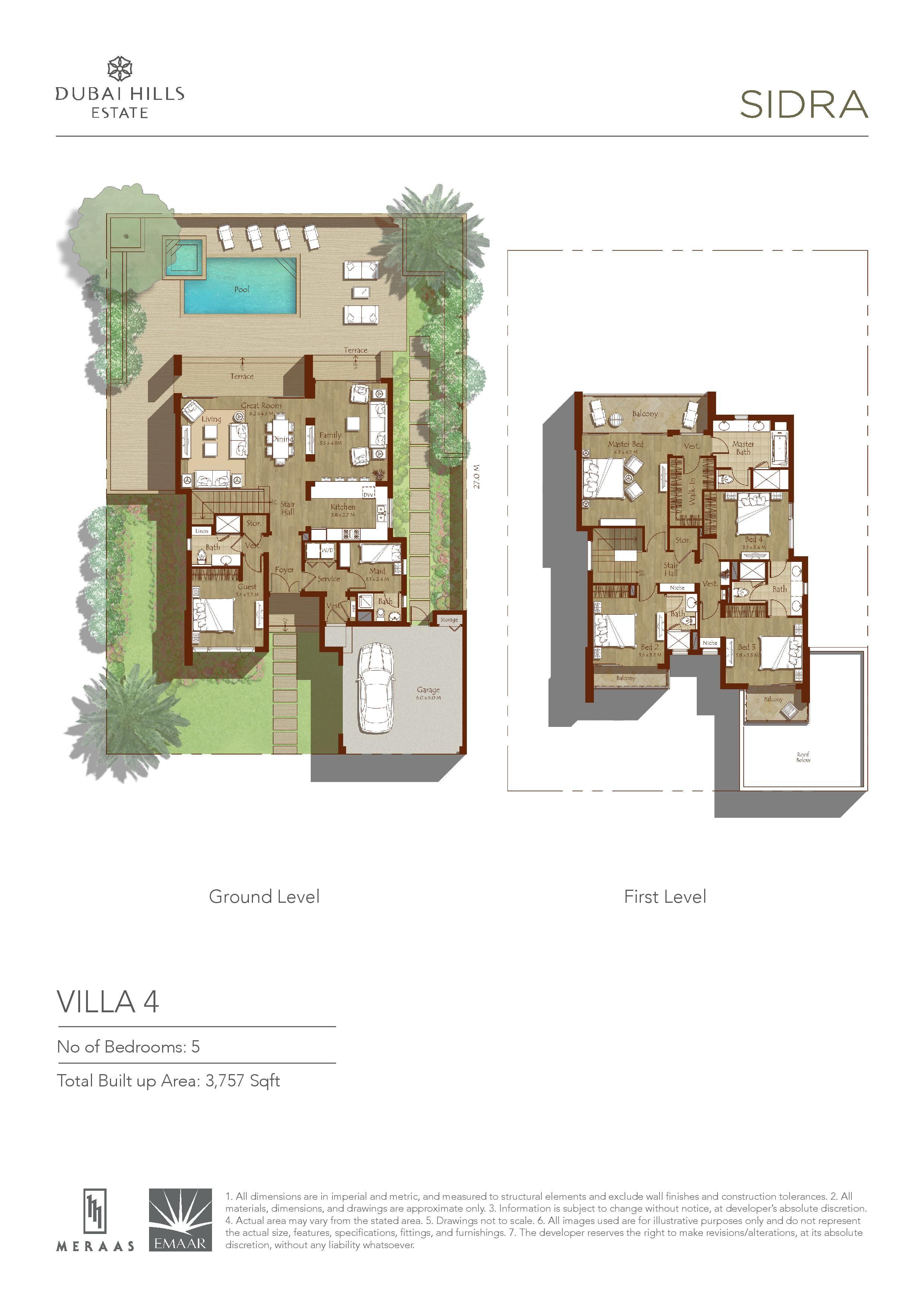 sidra villa floor plans - dubai hills estates | dubai hills