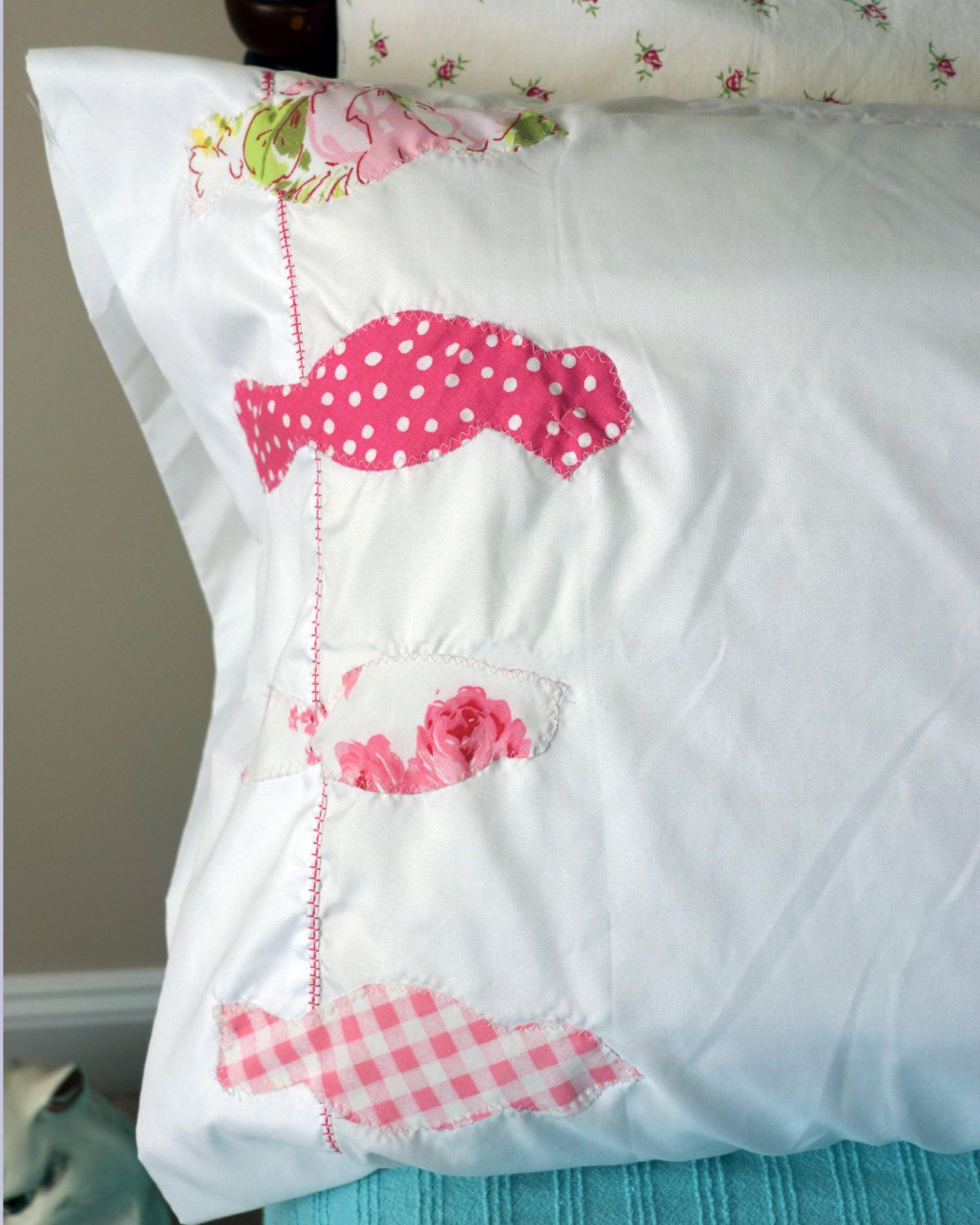 Birds On A Wire Appliqued Pillowcases. $13.50, via Etsy.