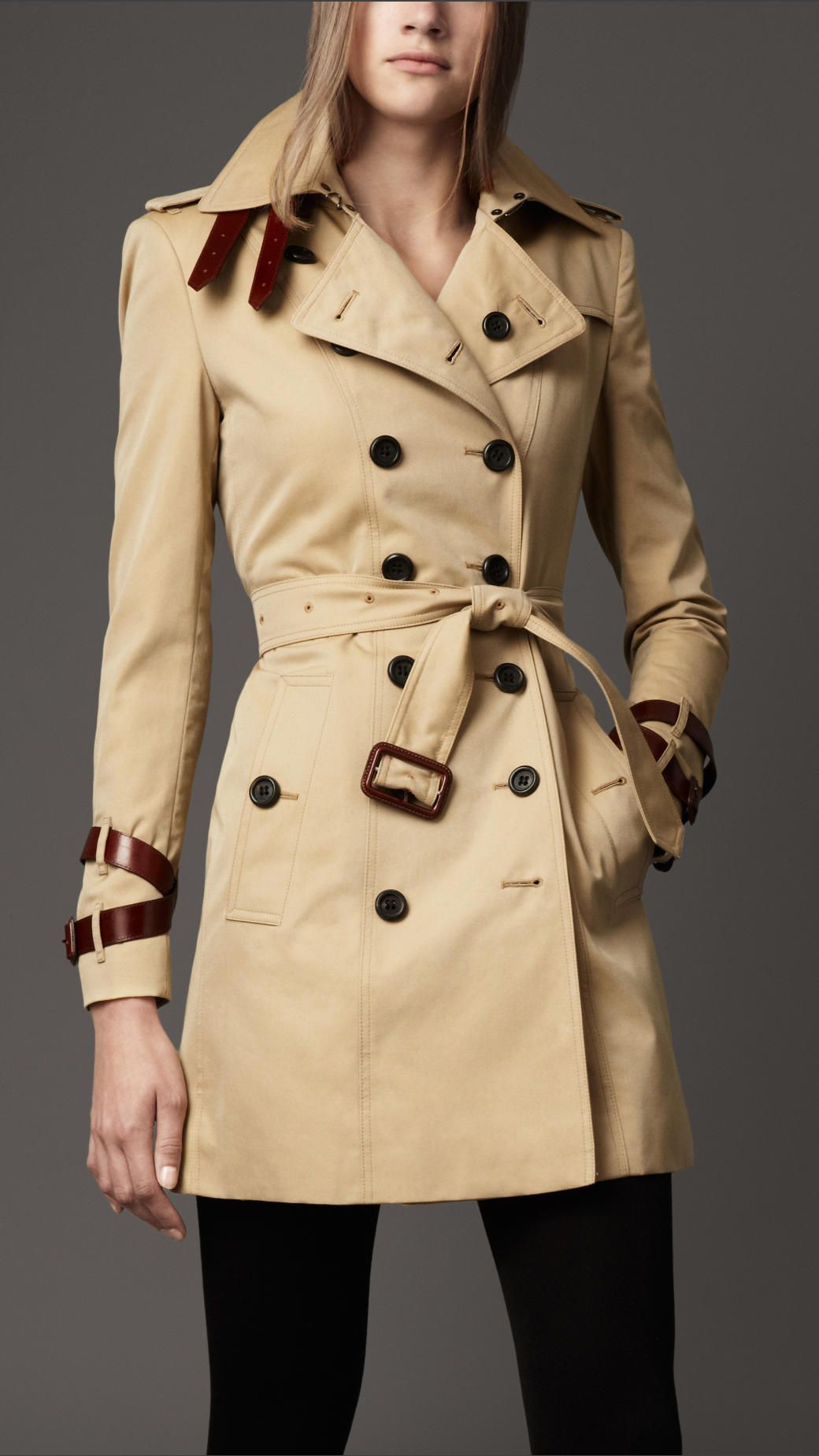 Burberry London women's leather strap trench coat