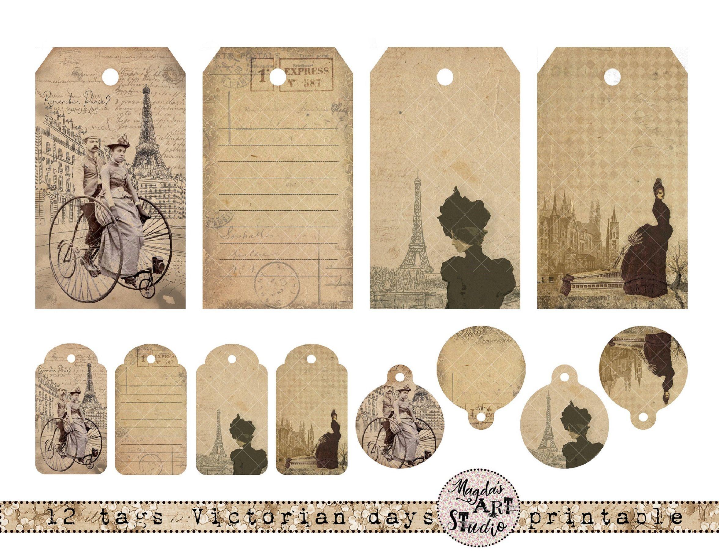 Digital collage sheet, tags, Victorian Ladies, LT14