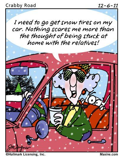 Maxine knows the importance of good snow tires. Maxine