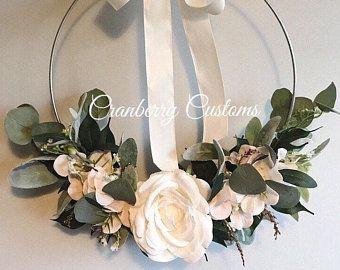 Photo of Modern wreath. Modern hoop wreath. Hoop wreath. Sola wood flower wreath. Year round decor. Everyday wreath.