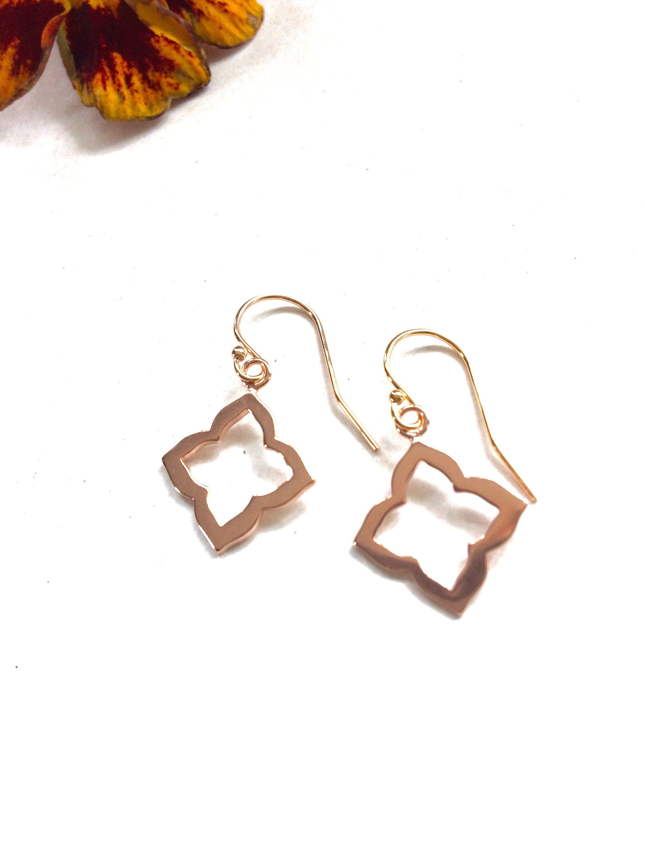 27779f10831 Rose Gold Moroccan Flower Earrings - Rose Vermeil Dangle Earrings ...