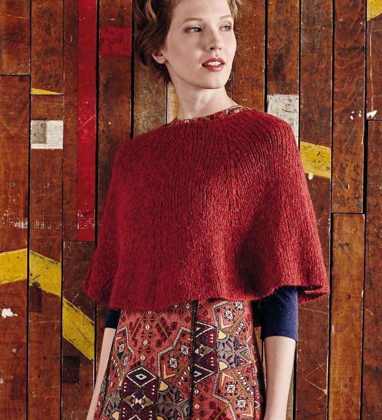 If standard knitted poncho patterns are too big and bulky for you, you'll love the delicate simplicity of this Land of the Rising Sun Poncho.