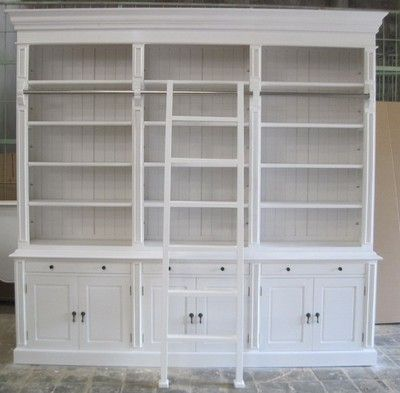 Very Large French Provincial Style Bookcase With Ladder In White Would Love This At My Place Bookcase Built In Cupboards Built In Wall Units