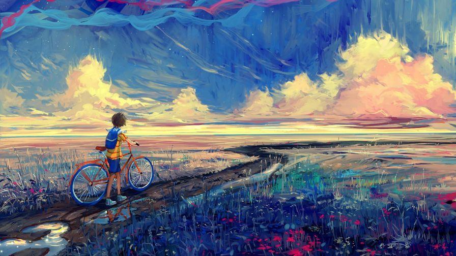 Boy And His Bike Hd Wallpaper Wallpapers Net Art Wallpaper Painting Art Canvas painting hd wallpaper
