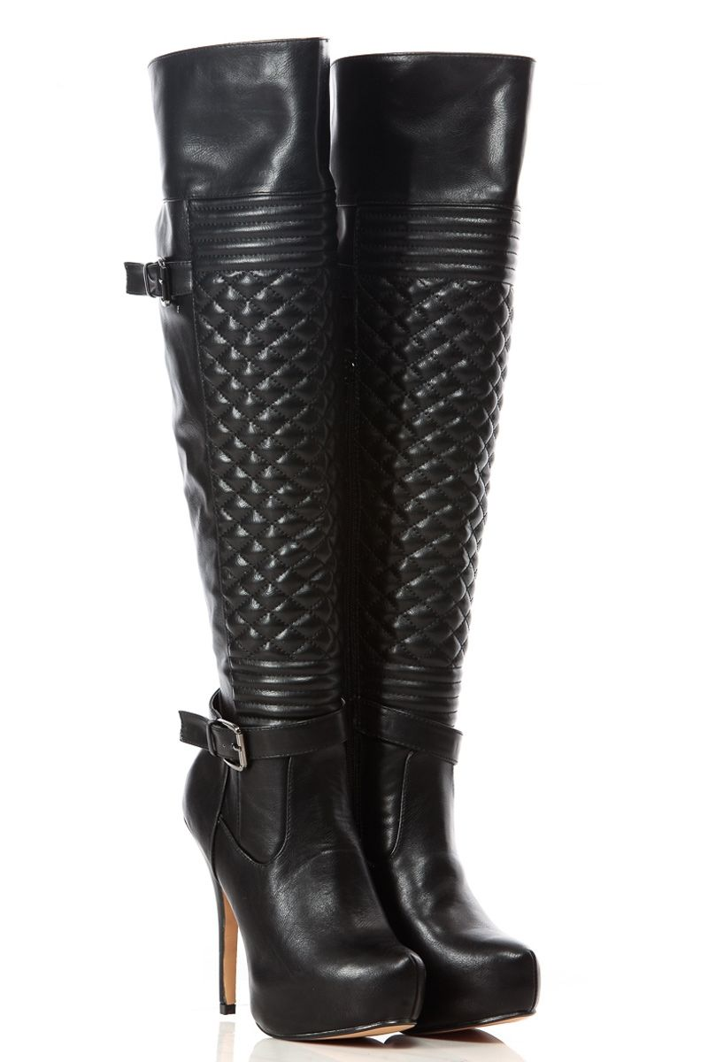 Black Faux Leather Quilted Over The Knee Platform Boots Cicihot