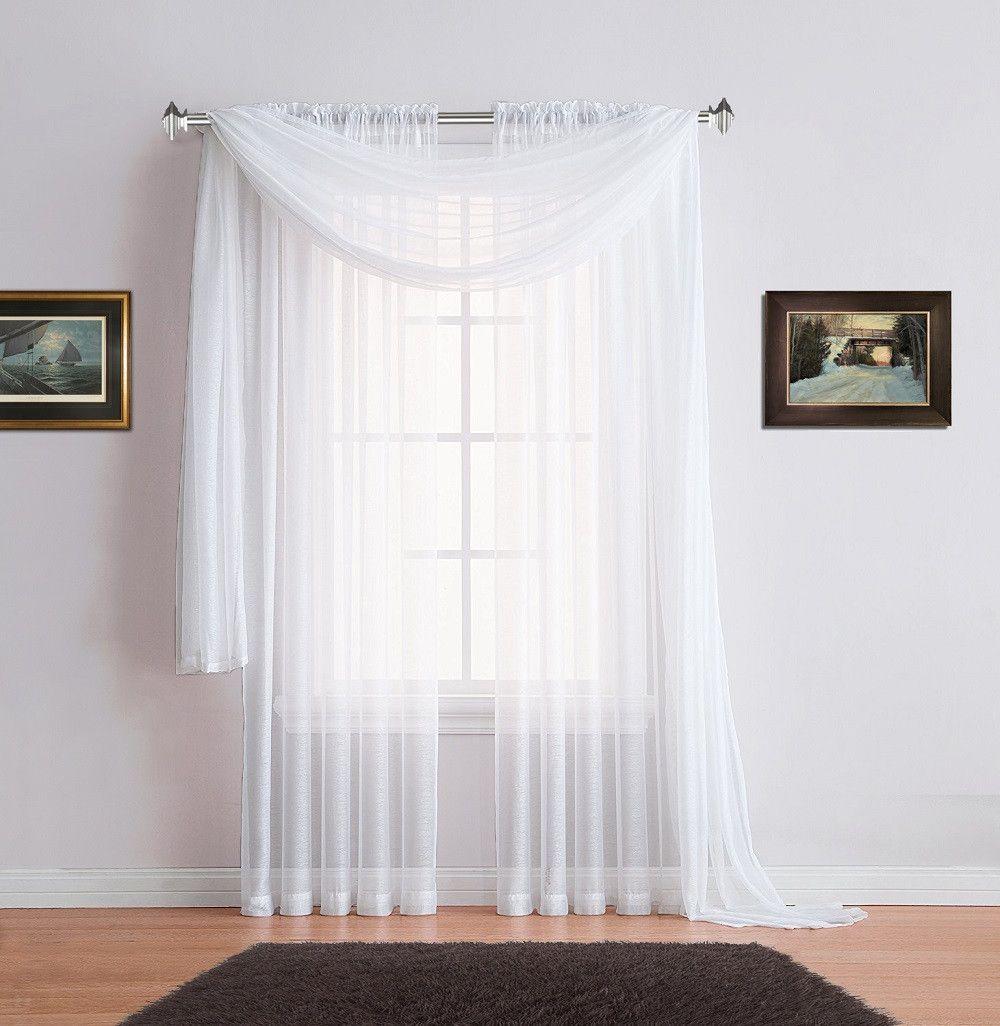 Warm Home Designs Premium Sheer White Window Scarves Or Rod Pocket Sheer White Curtains White Sheer Curtains White Curtains Affordable Drapes