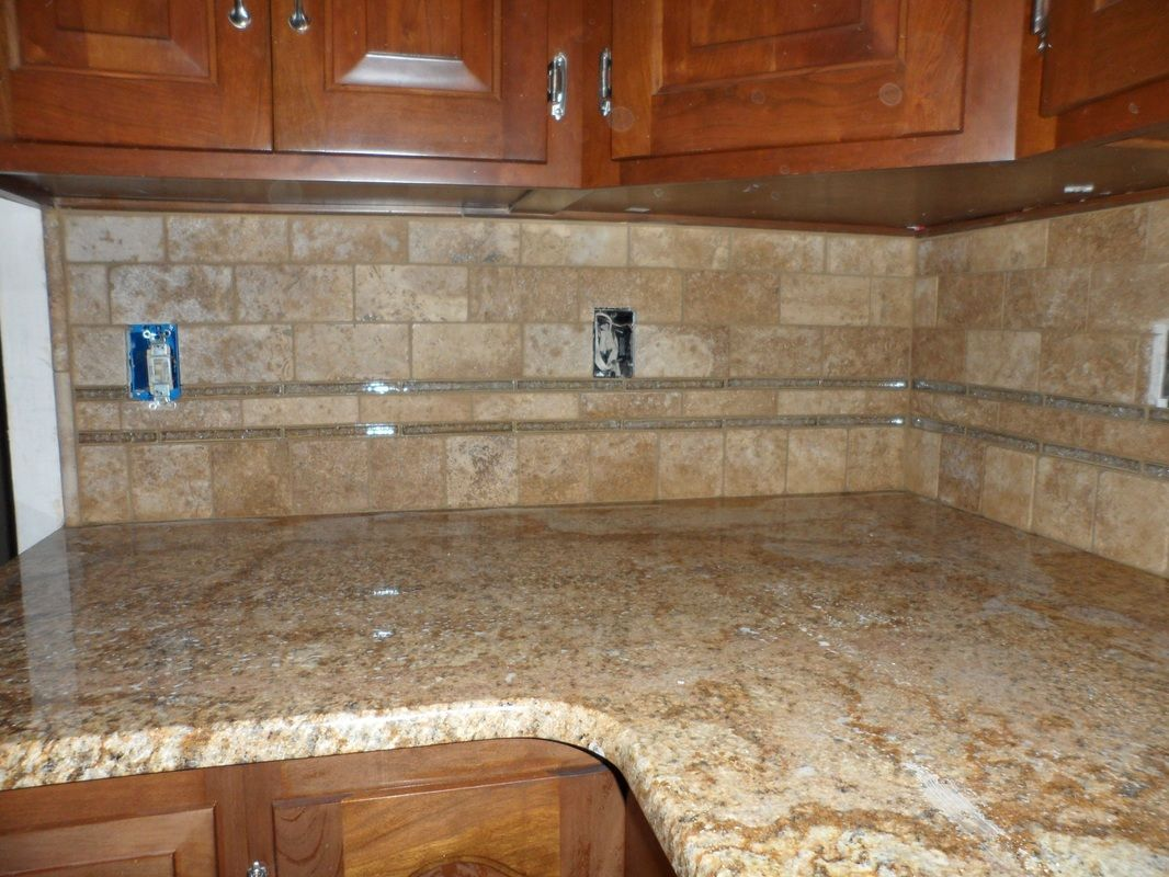 Glass Tile Back Splash Grouted Limestone And Glass Backsplash Berea Ohio 44017