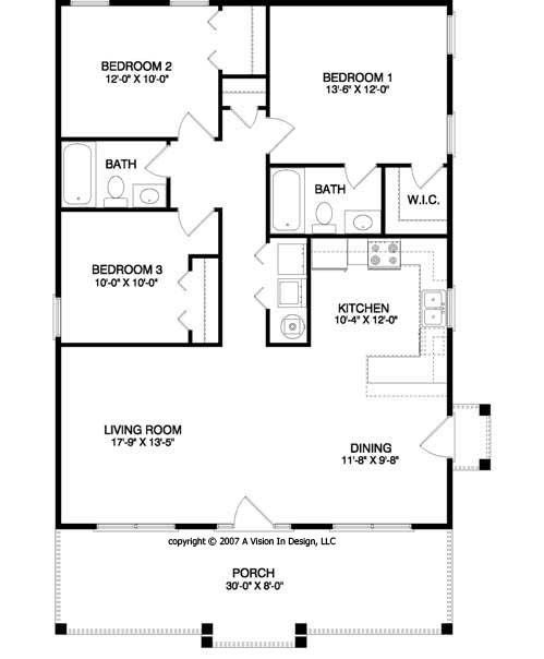 Small 3 Bedroom Open Floor Plan: Small House Floor Plan. This Is Kinda My Ideal :) (WTF ! A