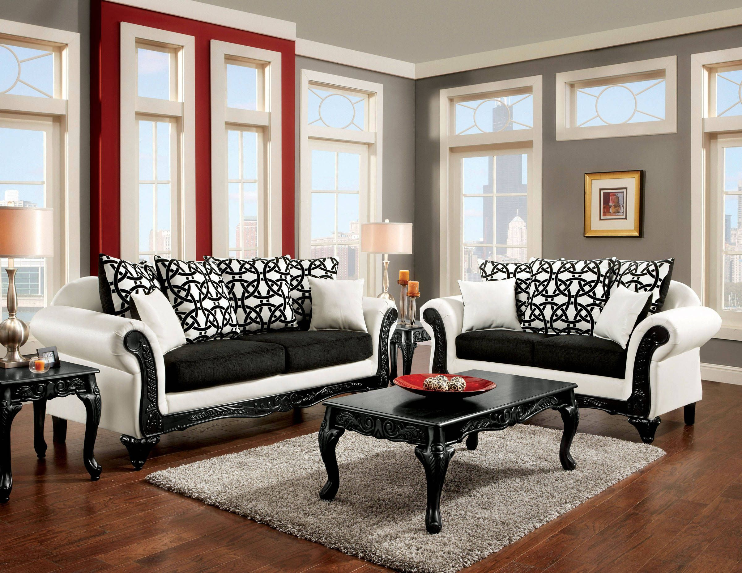 Furniture Of America Dolphy Sofa Sofa And Loveseat Set White Sofa Set Black And White Sofa