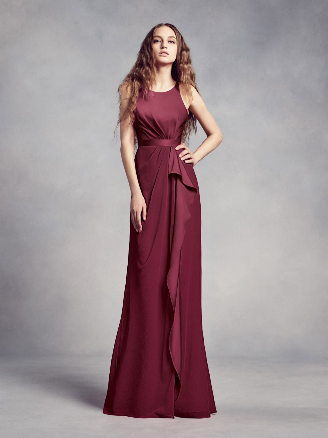 For Your Burgundy Wedding Wine Charmeuse And Chiffon Bridesmaid Dress With Ruffle Is Fit Any Venue This White By Vera At