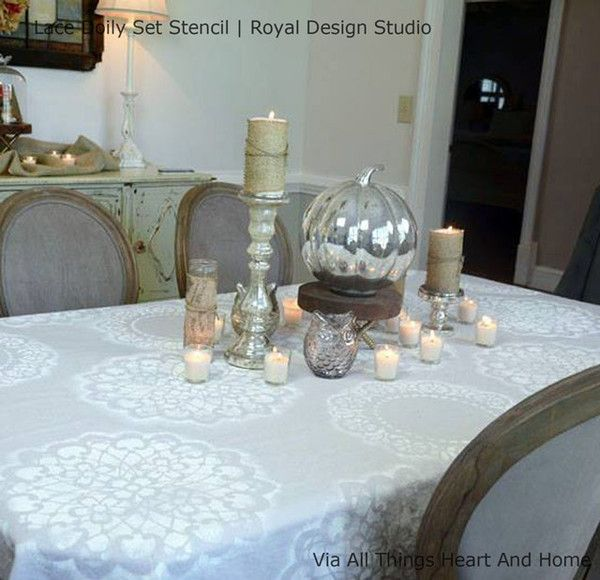 Lace Doily Wall Stencil Set Wall stenciling, Stenciling and Lace