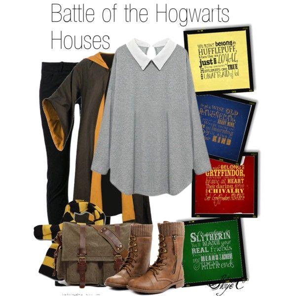Battle of the Hogwarts House Shoutout by rubytyra on Polyvore featuring moda, Boris Bidjan Saberi, Retrò and Børn