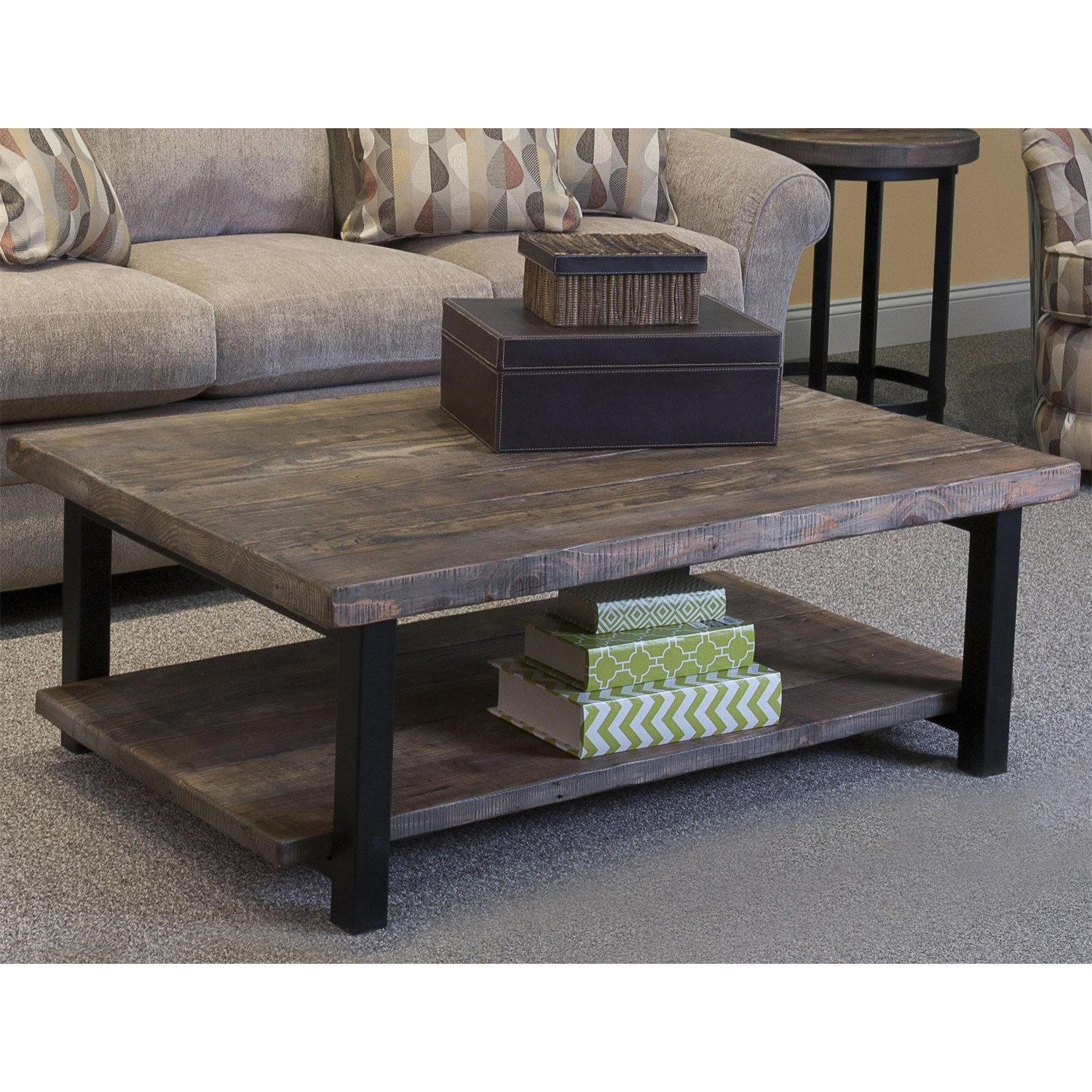 Alaterre Amba1220 Pomona Large Coffee Table In Rustic Natural