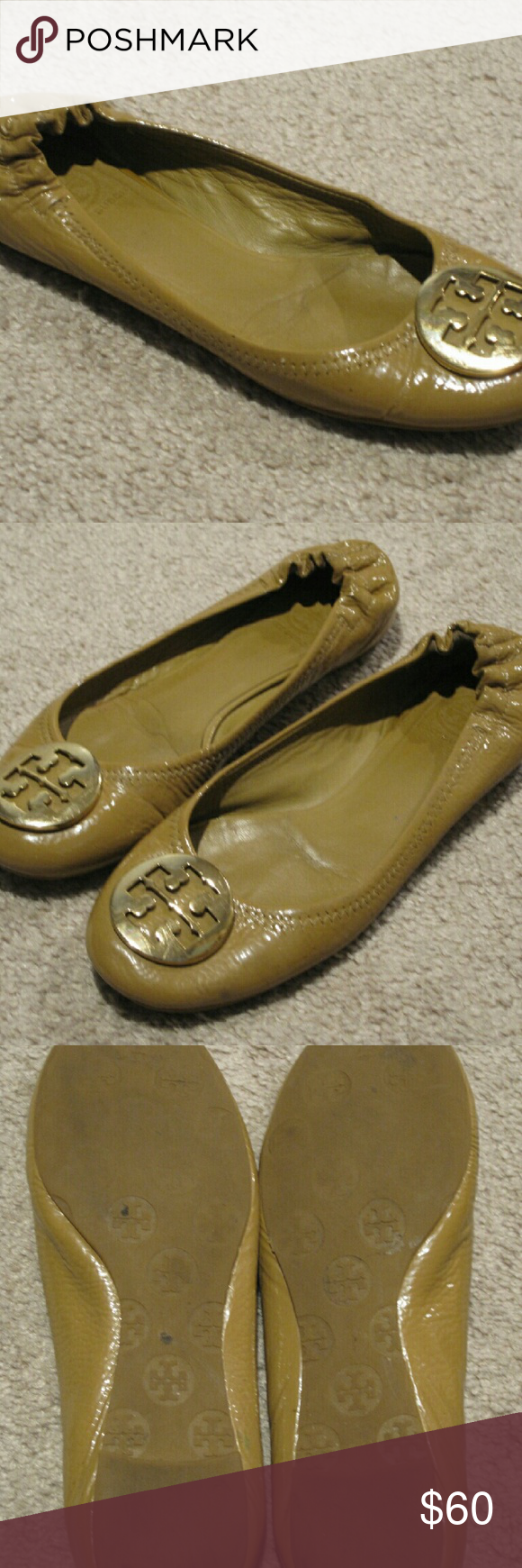 Tory Burch Polished Patent Royal Tan Reva 8.5 These are the polished patent style Reva with tan patent leather exterior and a gold emblem on the front. ?These have been worn quite a bit and are going to need to be resoled. ?The heel is worn down a bit on the left shoe. ?The right one has a small rip in the patent leather. ?However they are still wearable as is. ?These are a pretty hard to find style and with a bit of TLC can have many more miles in them. Tory Burch Shoes Flats & Loafers