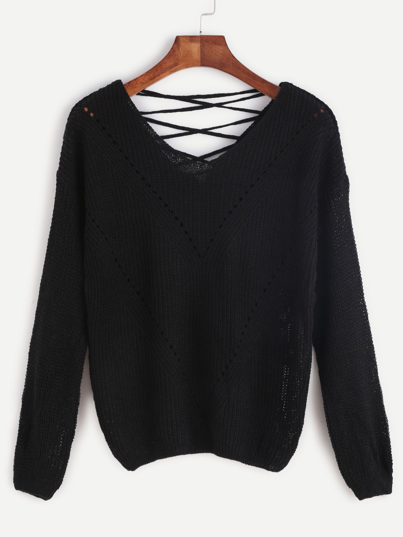 d242c04488f6e Shop Black Lace Up V Back Eyelet Chevron Knit Sweater online. SheIn offers Black  Lace Up V Back Eyelet Chevron Knit Sweater & more to fit your fashionable  ...