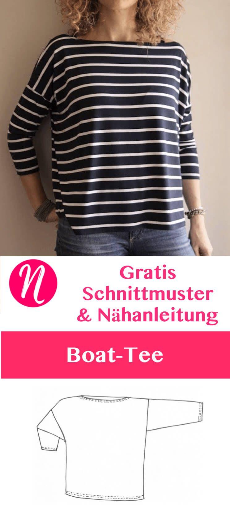 Oversized Shirt mit U-Boot-Ausschnitt - gratis Schnittmuster Tipp ...