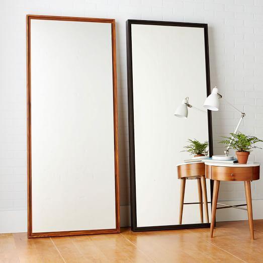 Floating Wood Floor Mirror White