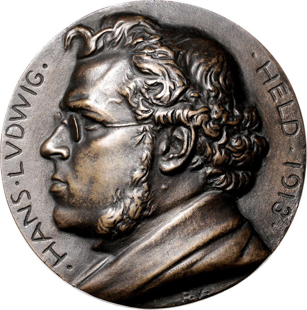 Held, Hans Ludwig (1885-1954), coin collector; medal 1913 by Vogelsanger