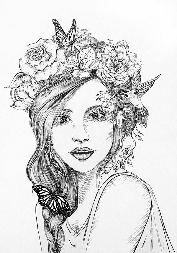 Adult Coloring Pages Books Colouring Portrait Art Flower Crown Zentangle Templates Doodles