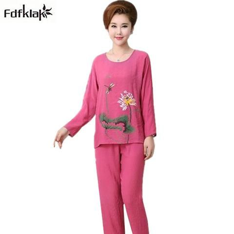 9407940ba46 Fdfklak Woman Pajama Set Cotton 2018 New pijama women Print Plus Size  Pajamas Autumn Winter pyjama femme XL XXL 3XL 4XL S0010