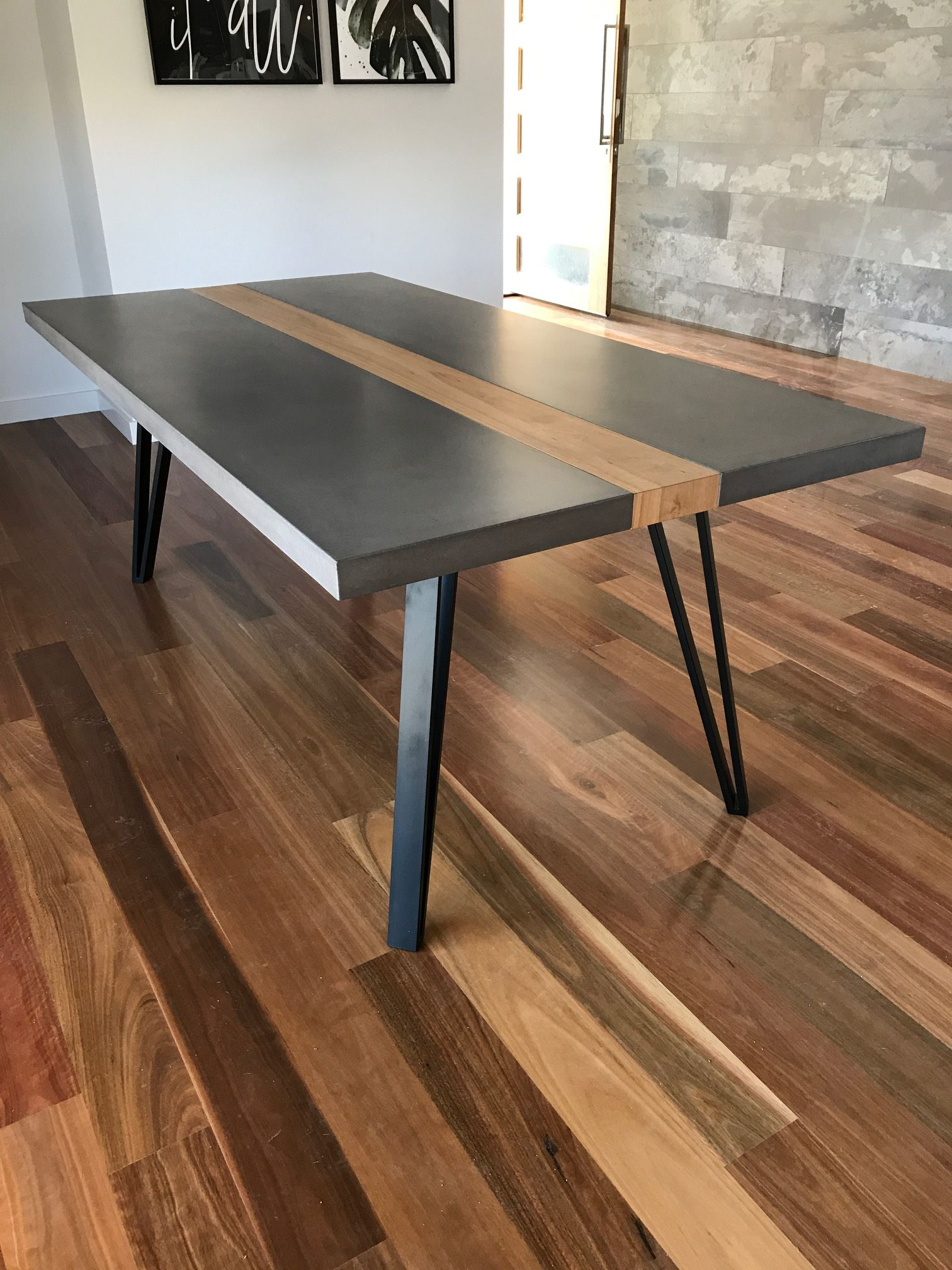 Timber Dining Tables Adelaide Concrete Top With A Timber Strip And Powder Coated Steel Legs By