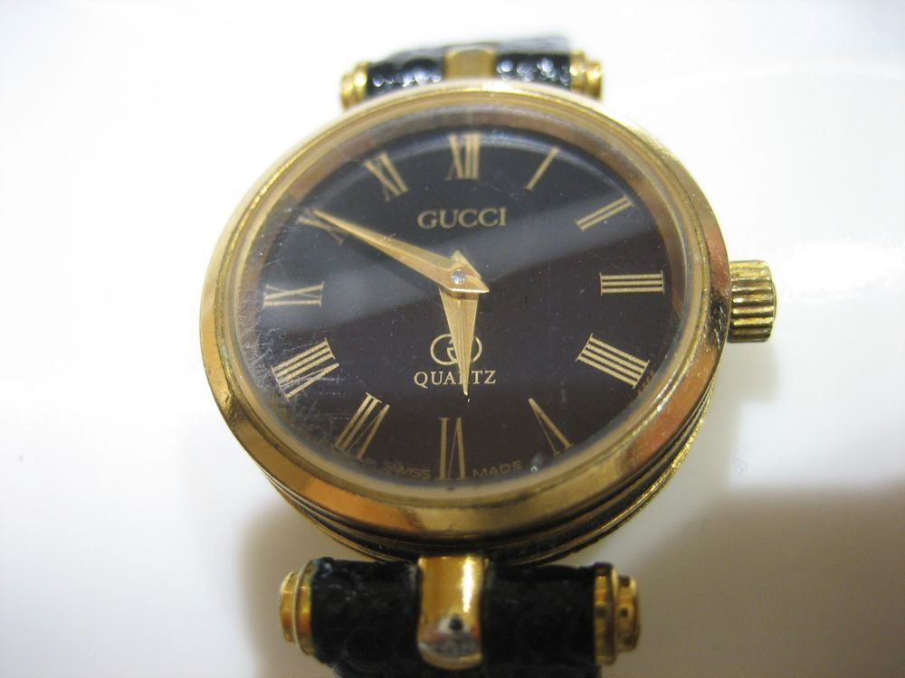 b0064957394 AUTHENTIC VINTAGE GUCCI 2000L BLACK GOLD STACKED LADIES WRIST WATCH  Gucci
