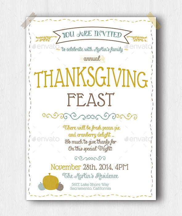 Thanksgiving Party Flyer Template PSD Buy and Download   - invitation flyer template