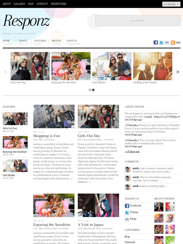 Responz is a 3 column responsive news magazine wordpress theme which ...