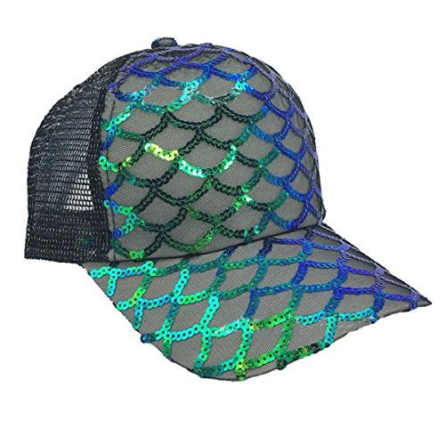 913fbcbf50d Maticr Unisex Bling Mermaid Scales Sequin Trucker Hats Adjustable Mesh Caps  Baseball Party Hat https