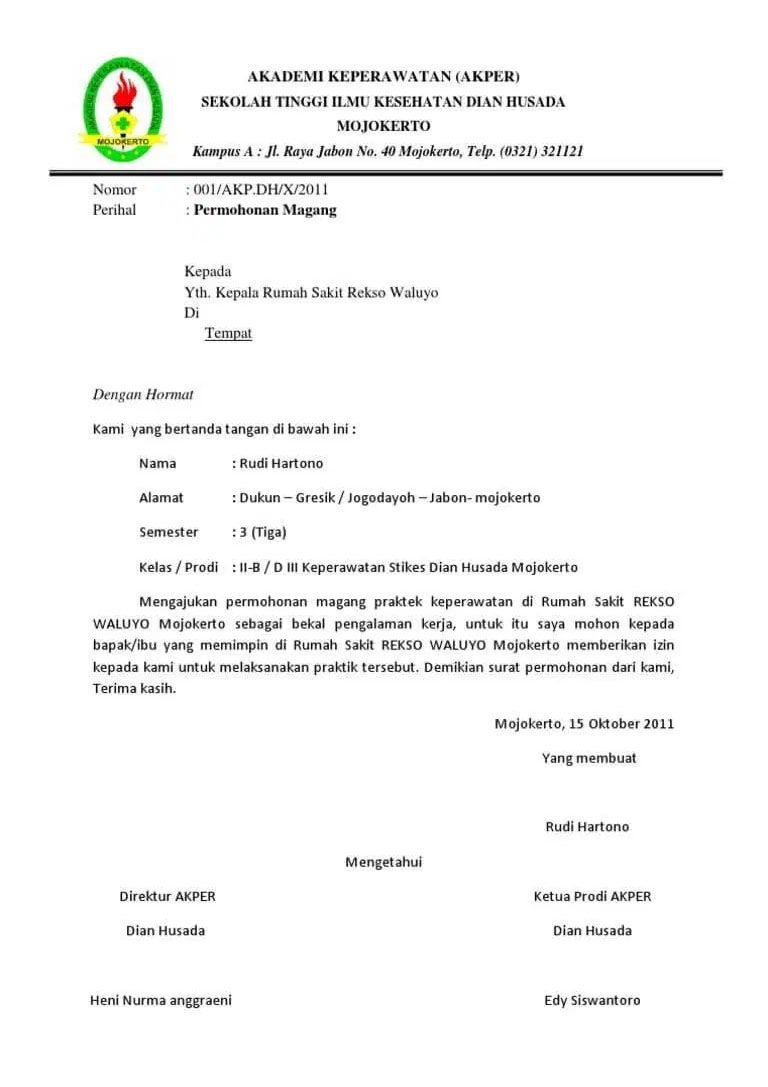 Contoh Surat Lamaran Magang Bidan Surat Kebidanan Pendidikan