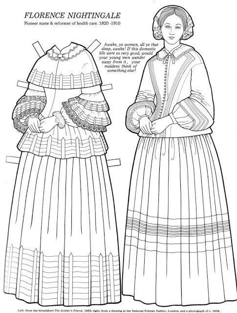 Great Women Coloring Paper Dolls Florence Nightingale Maria