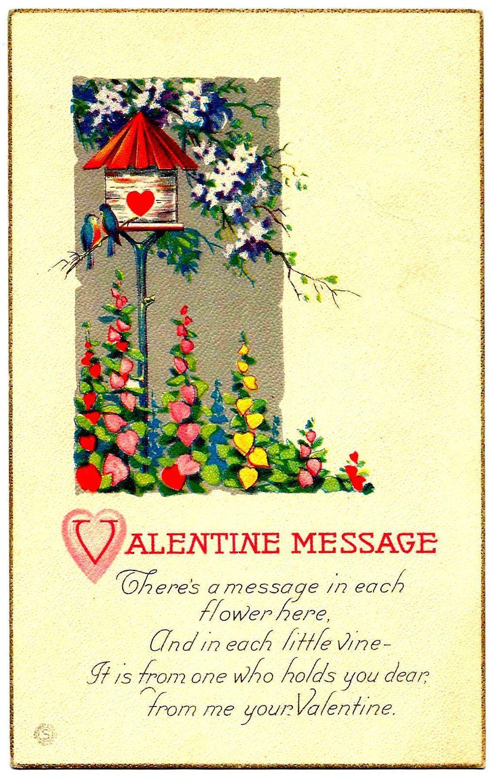 Vintage Valentines Day Postcard 1922.Valentines Day Decorations.Valentines Day Gift for Her.Valentine Cupid.Valentines Poems.Valentine Card.