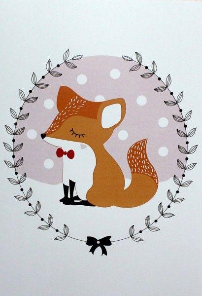 Affiche illustration petit renard