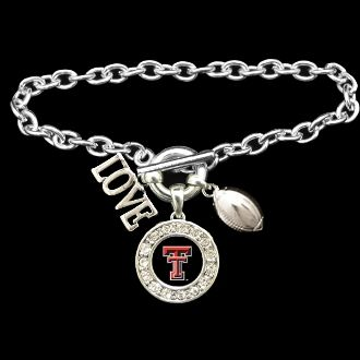 Texas Tech Red Raiders 3 Charm Football Bracelet - Charming Collectables