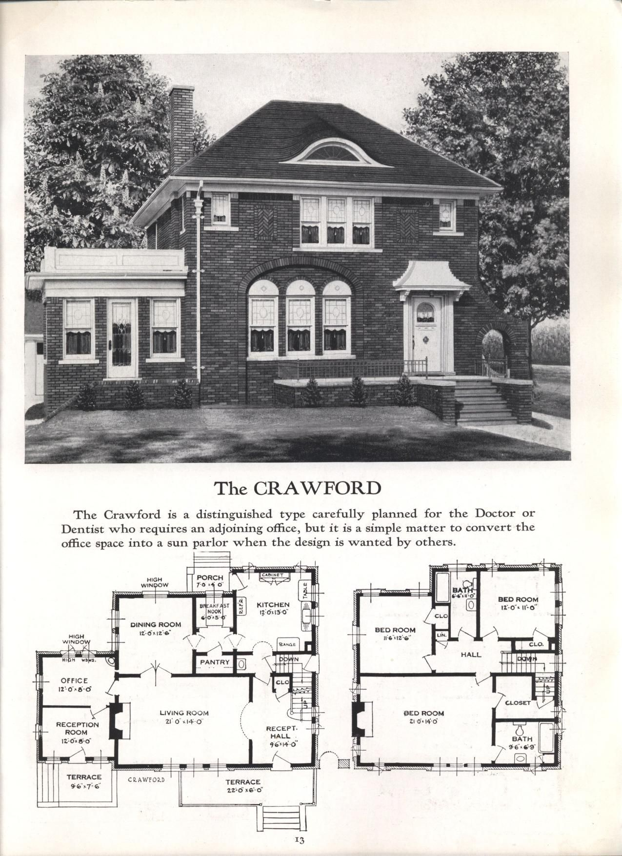 Better Homes At Lower Cost No 17 By Standard Homes Co Publication Date 1930 The Crawford Vintage House Plans Architecture House Cottage Floor Plans
