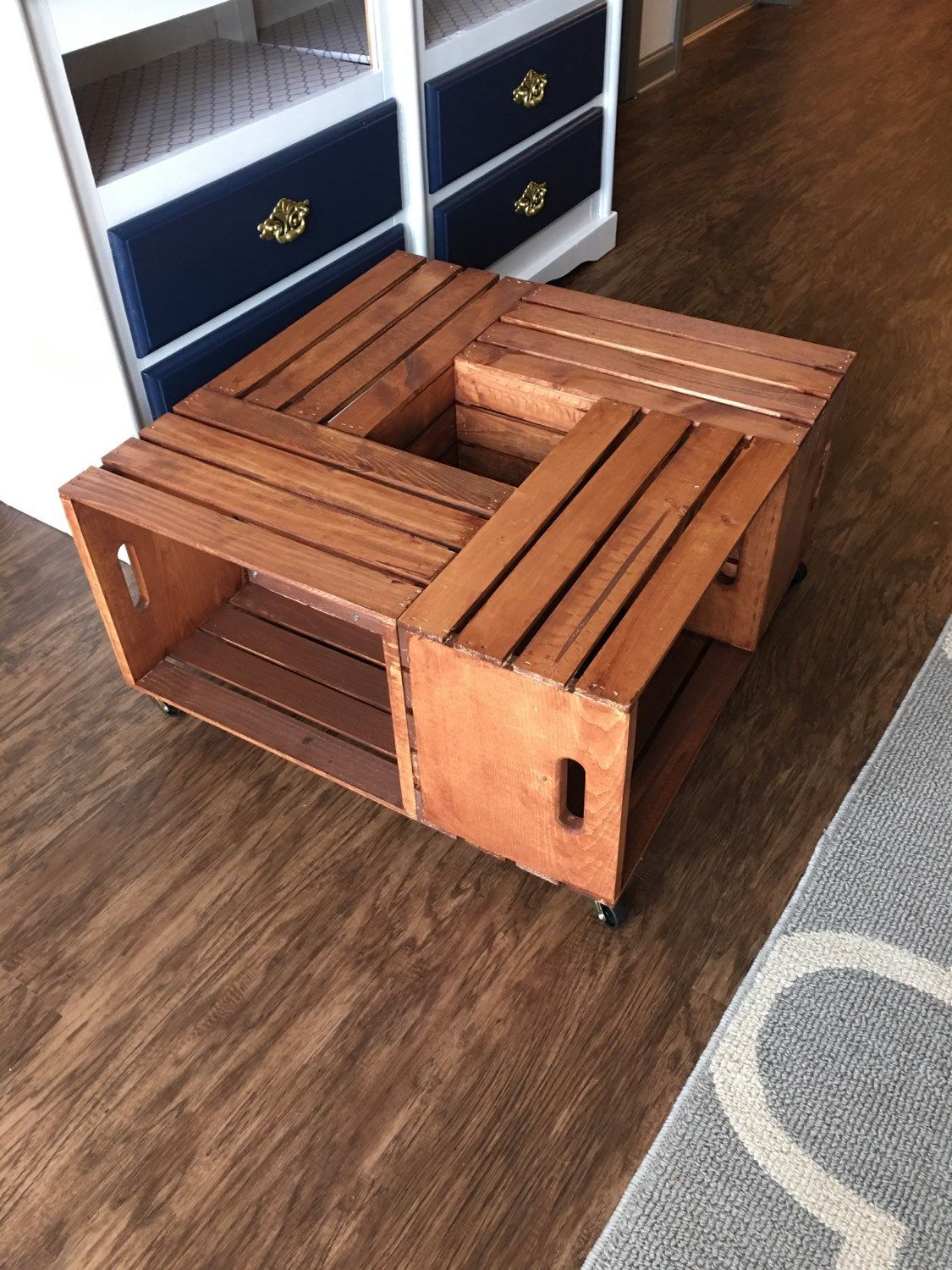 Wood crate coffee table by keriscraftsnthings on etsy wohnung wood crate coffee table by keriscraftsnthings on etsy geotapseo Choice Image