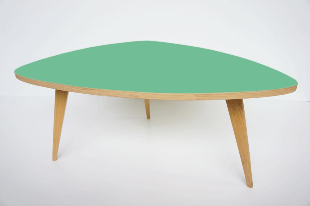 table tripode vert d'eau △▽ △ , ébéniste français fabrique des