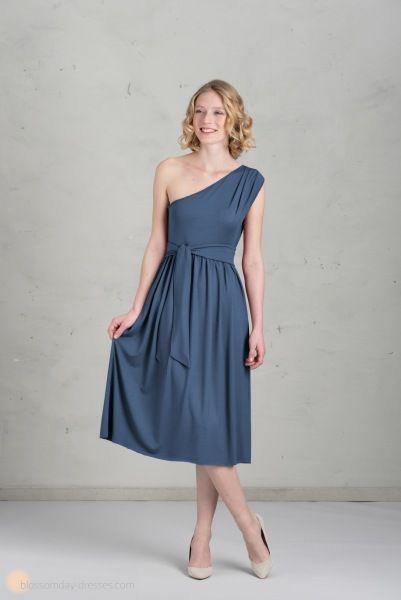Brautjungfer kleid blau kurz