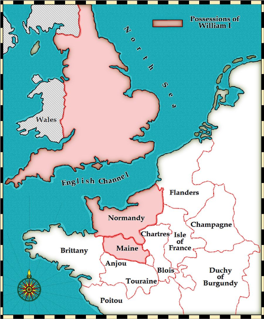 Map Of Uk France.This Map Show The Areas Of Britain And France That William The