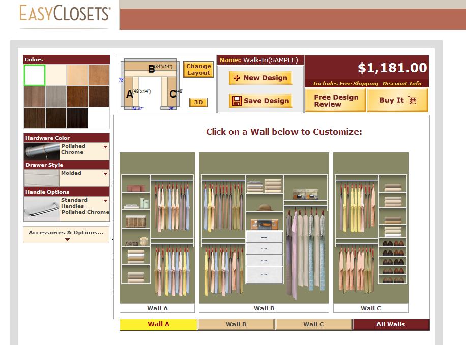 Free Online Closet Design Tool | Orbit Sprinkler System Designer