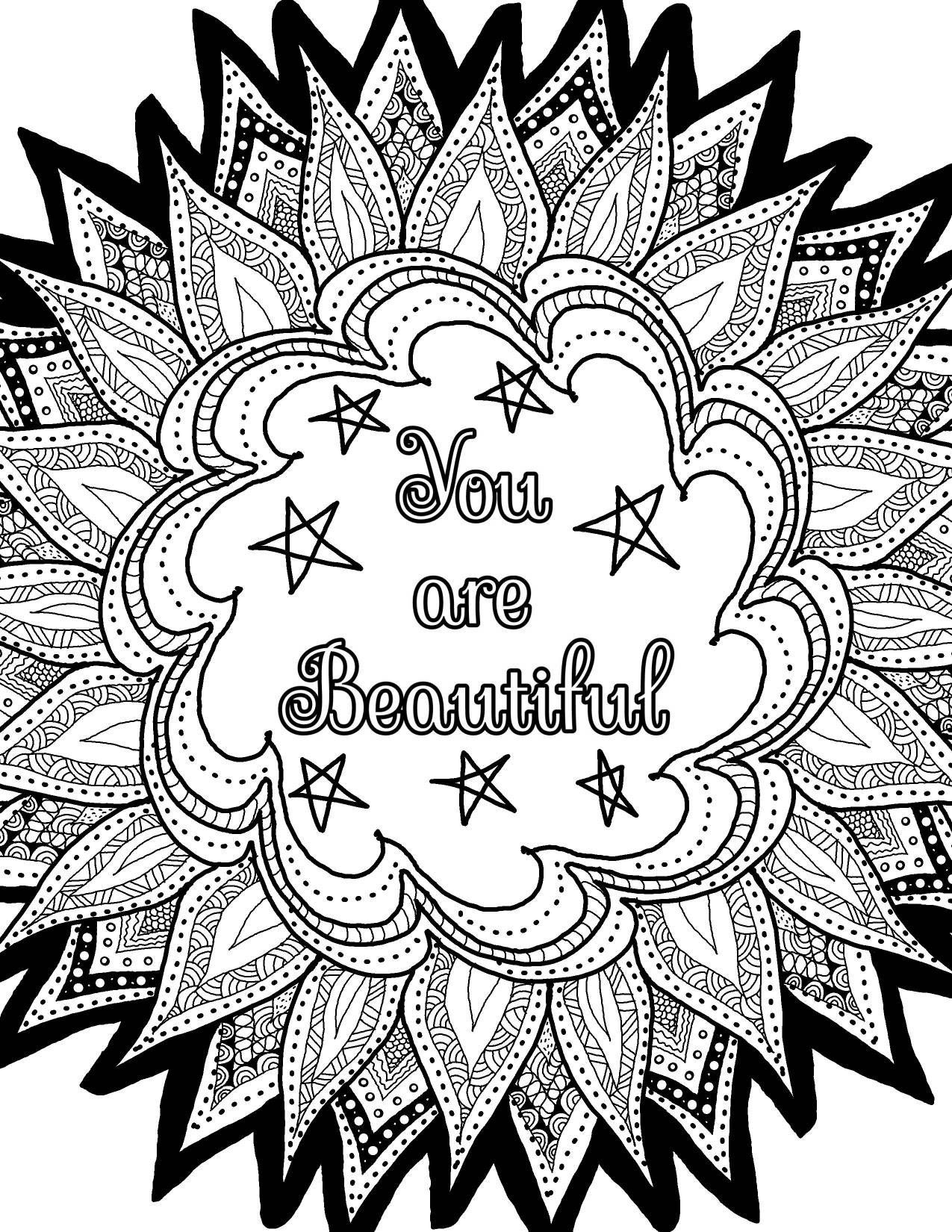 Adult Coloring Book Printable Coloring Pages Inspirational Quotes