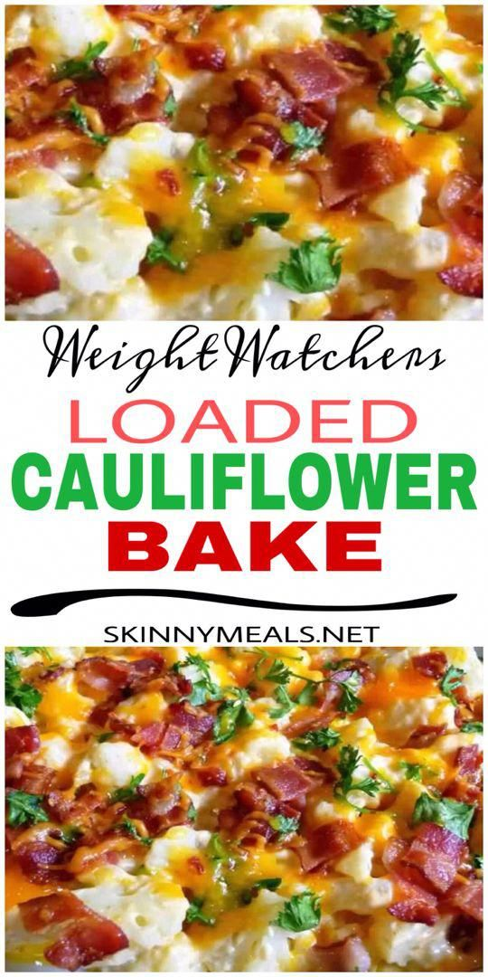 Loaded Cauliflower Bake #weightwatchers #cauliflower #ketogenic #yummy #weight_watchers #weight_loss #healthybaking #loadedcauliflowerbake