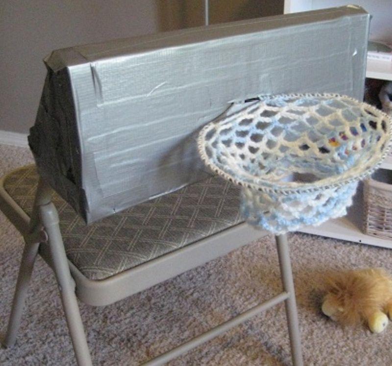 DIY Basketball Hoop: cardboard, duct tape, wire coat hanger, and ...